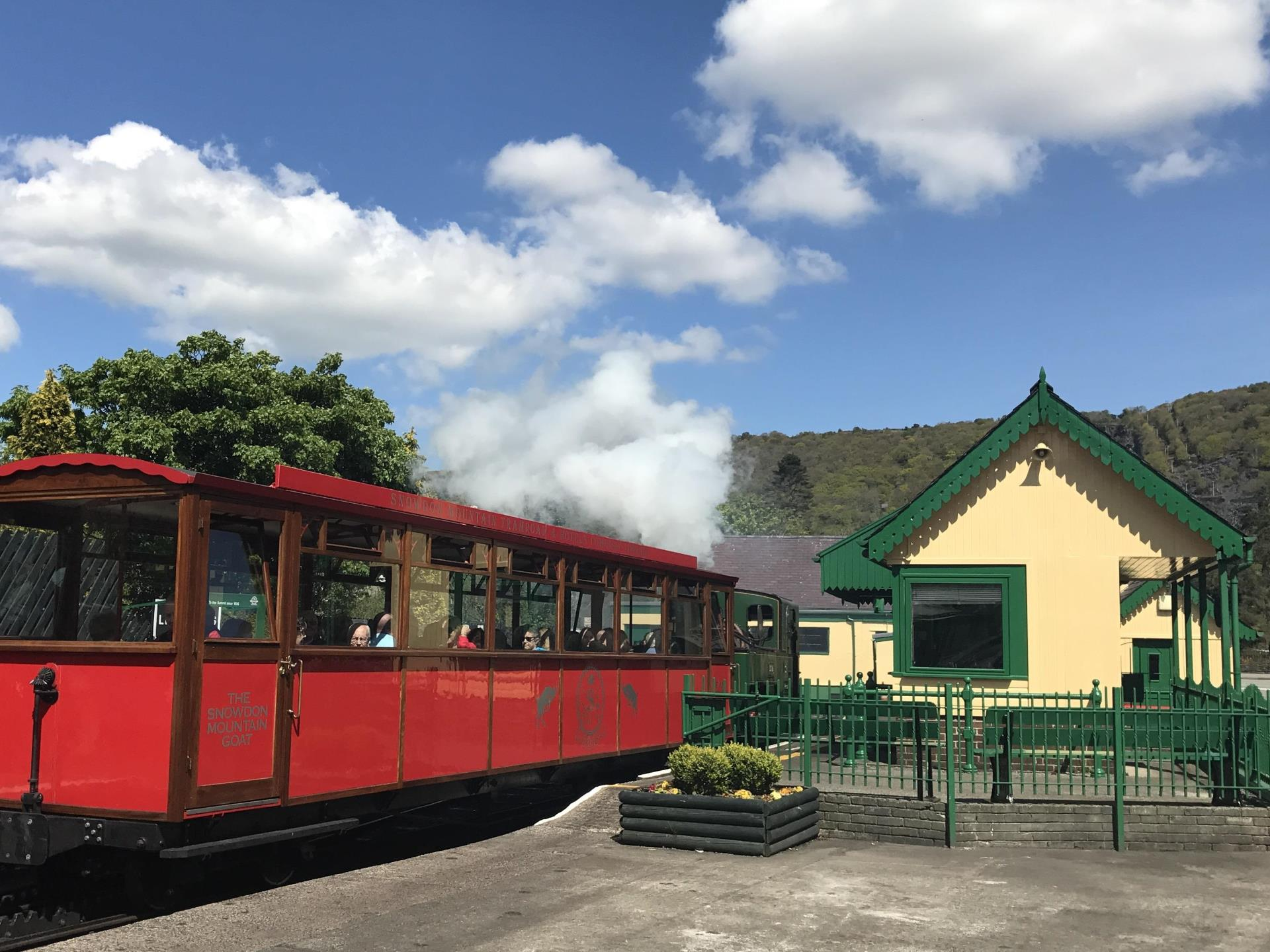Steam train departing Llanberis Station