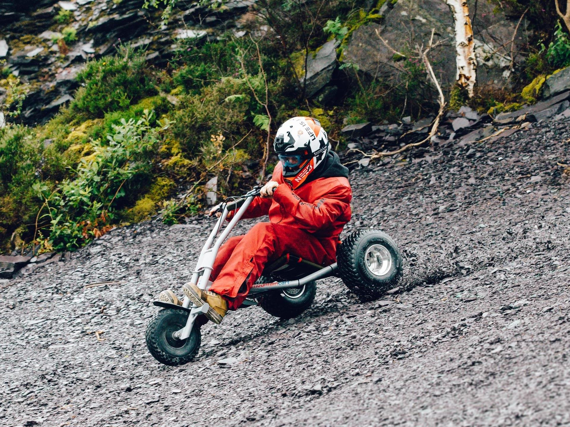 A rider takes on the Quarry Karts track
