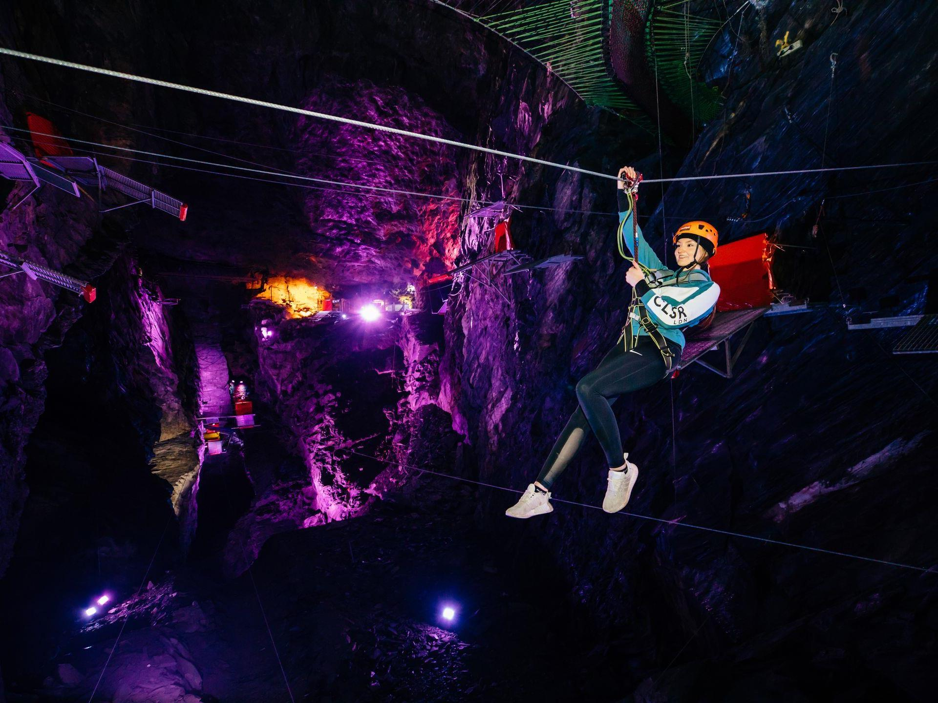 Take flight on 11 zip lines at Zip World Caverns
