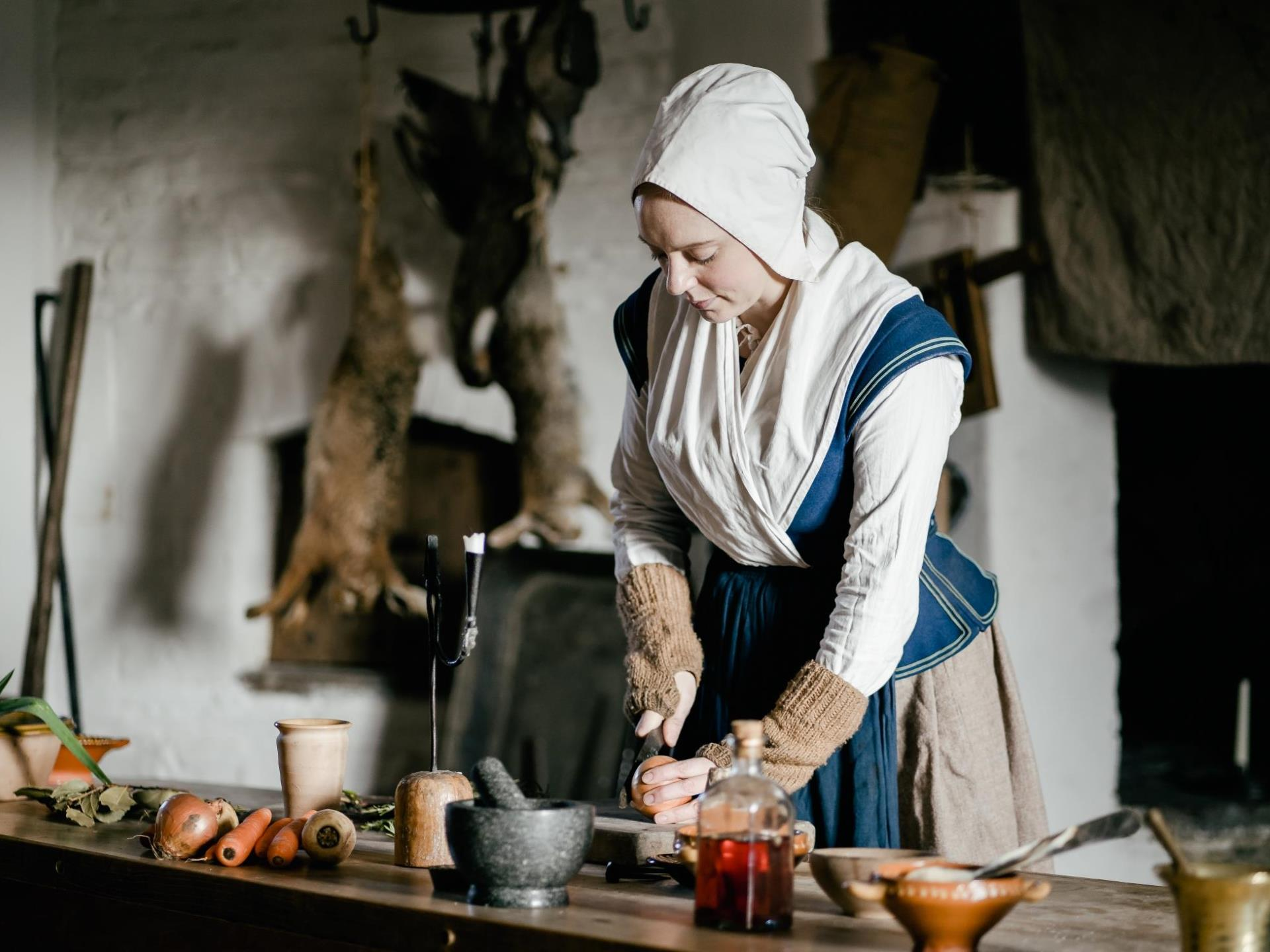 The kitchen at Llancaiach Fawr Manor