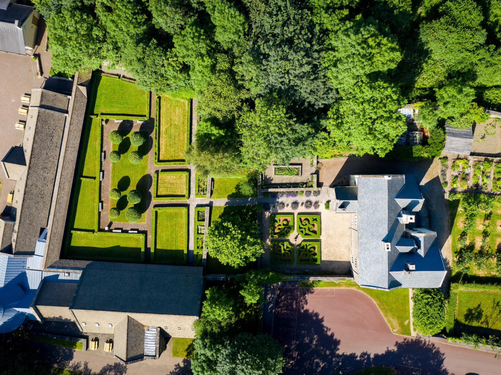 Aerial view of Llancaiach Fawr Manor and gardens