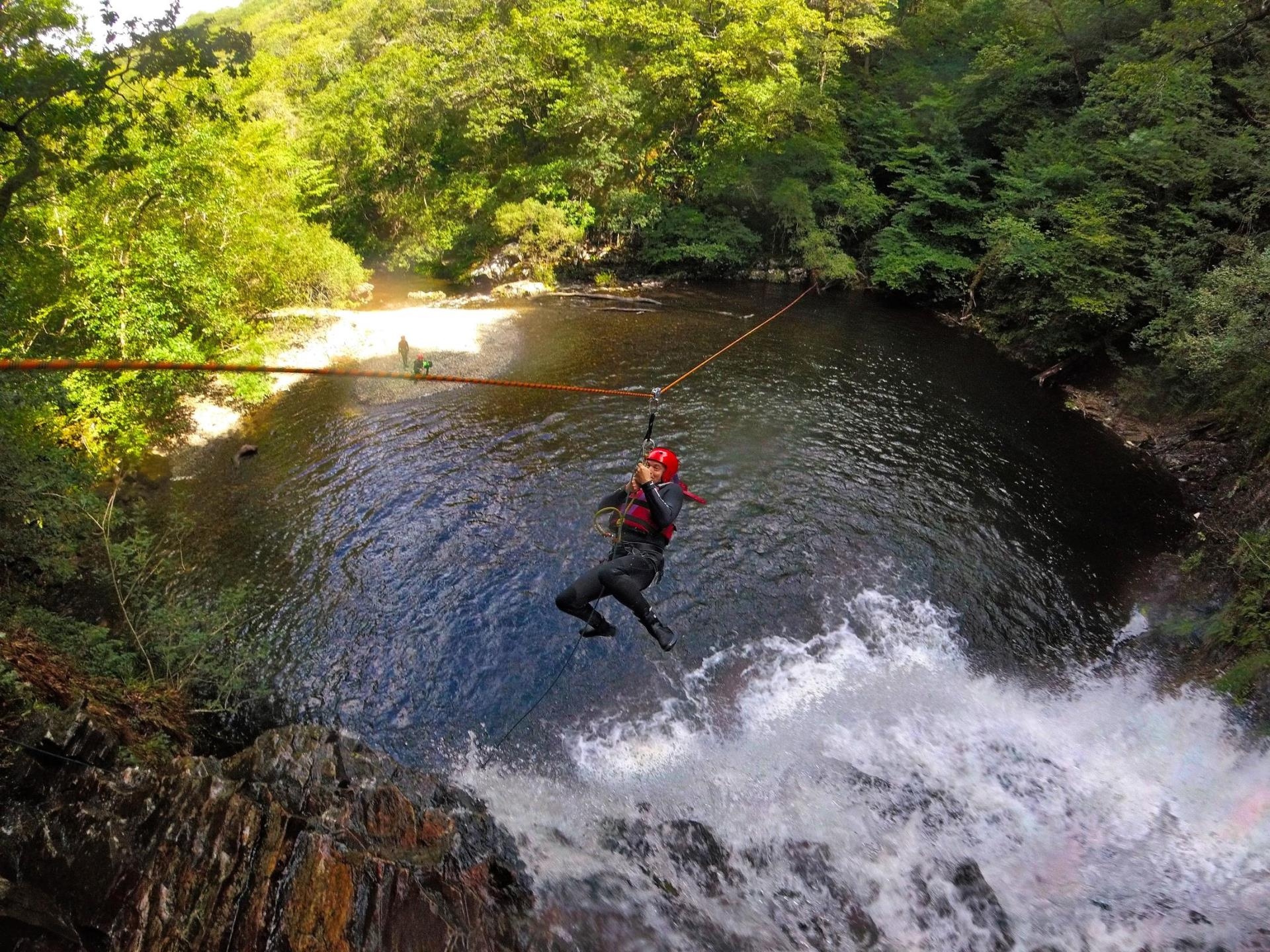 Zip wiring at the end of the Canyoning session