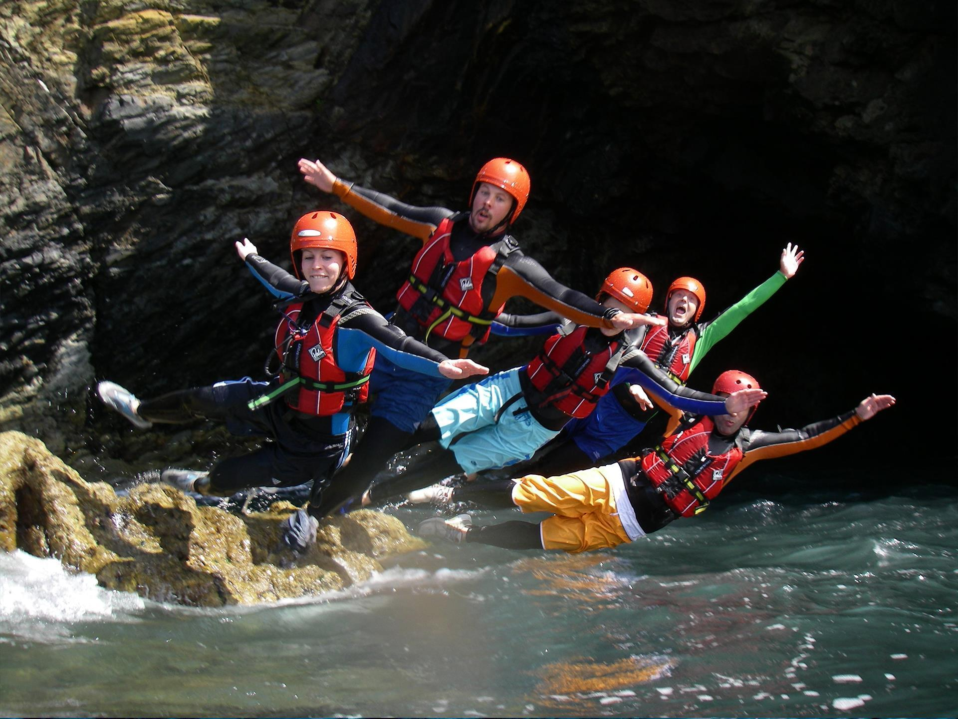 Falling with style Coasteering