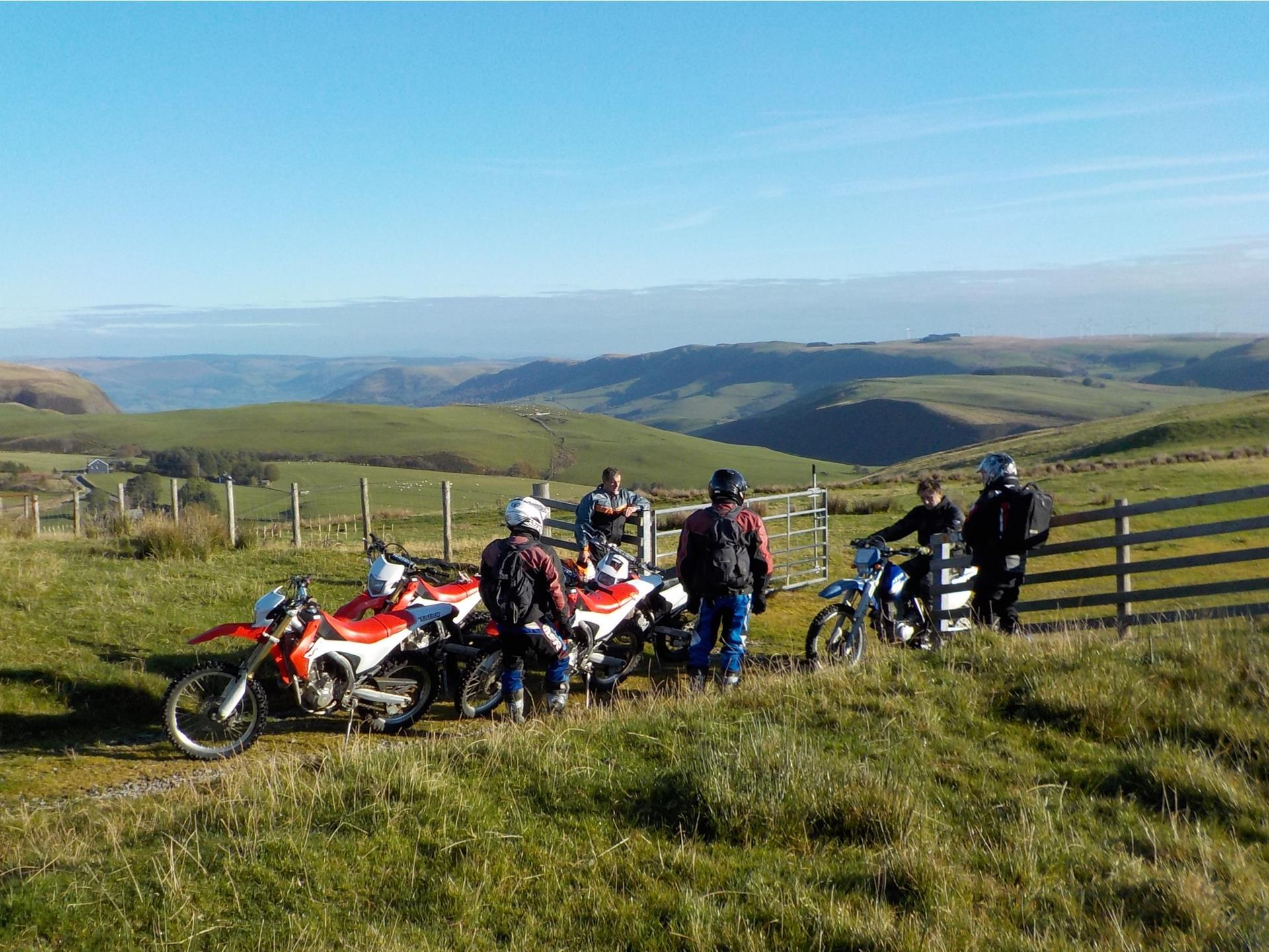 Group of motorcyclists in the hills
