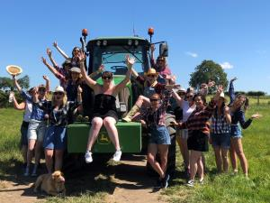 Happy hen party at Tractor Driving