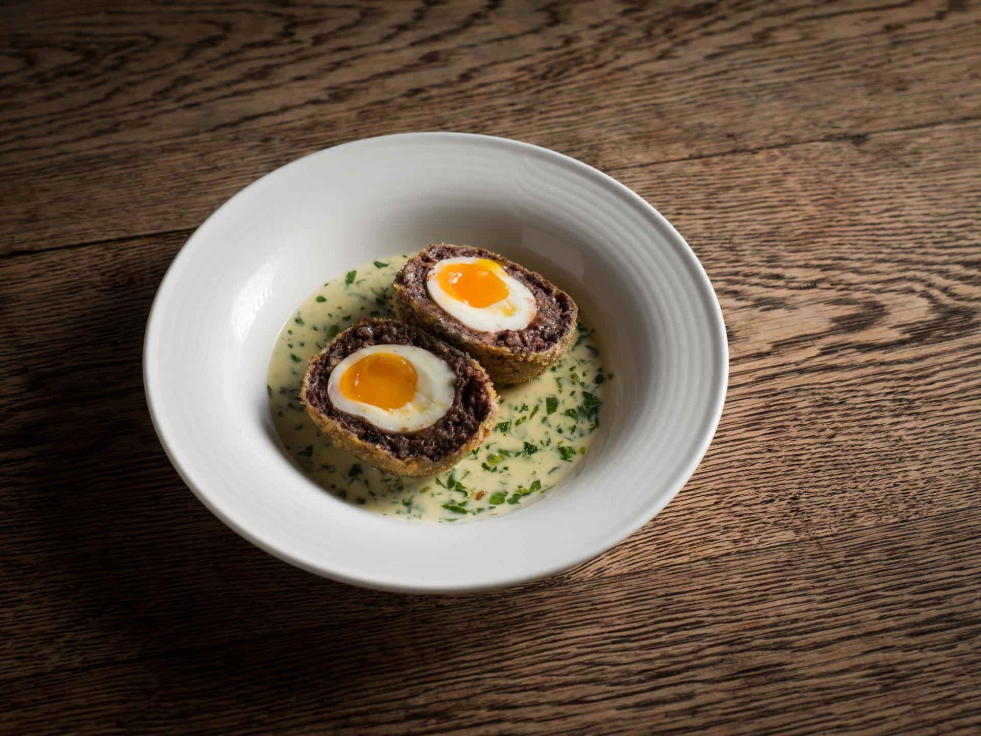 Mangalitza black pudding scotch egg