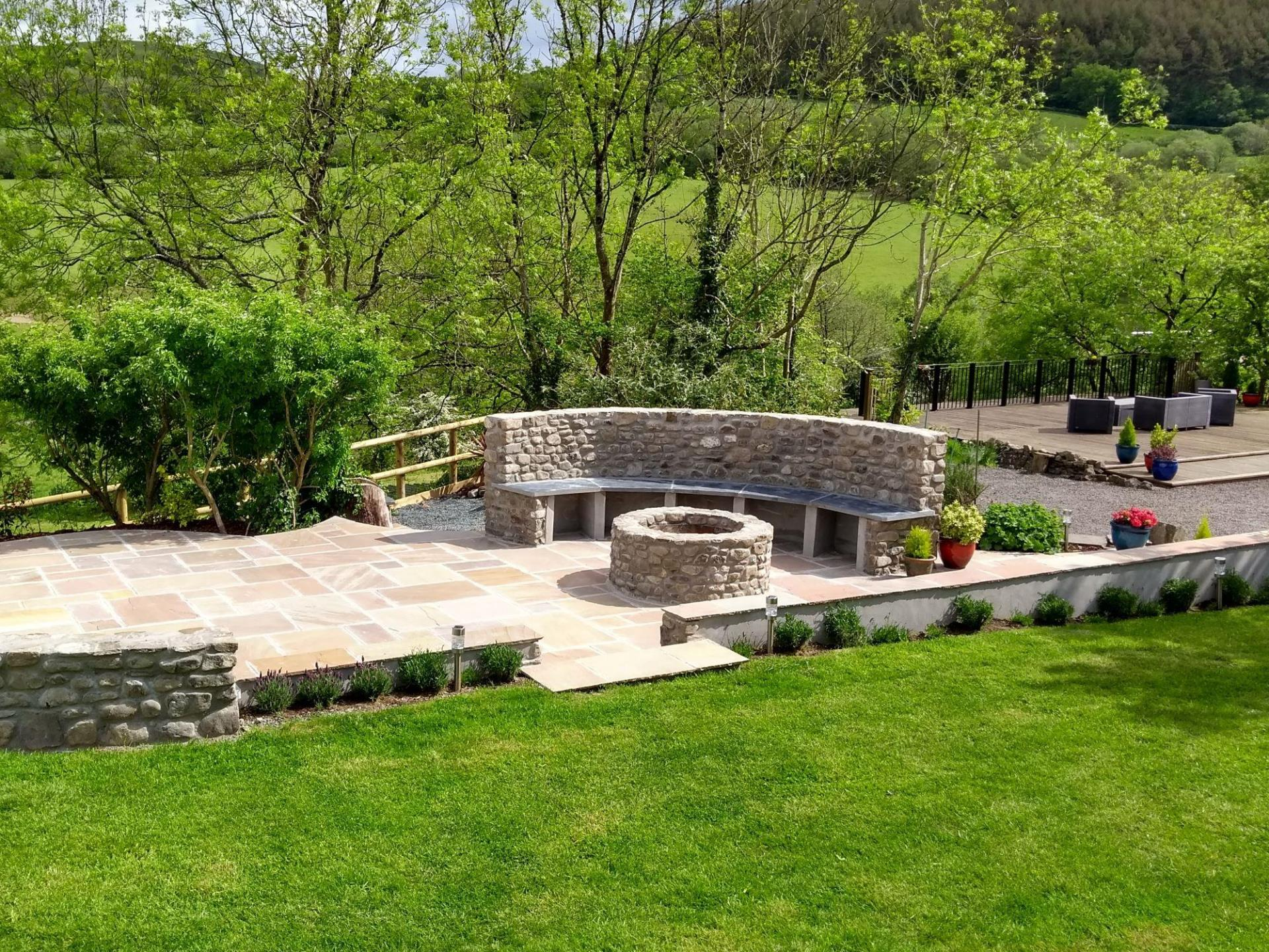 New for 2019 - Stone & Slate Terrace with Fire-Pit